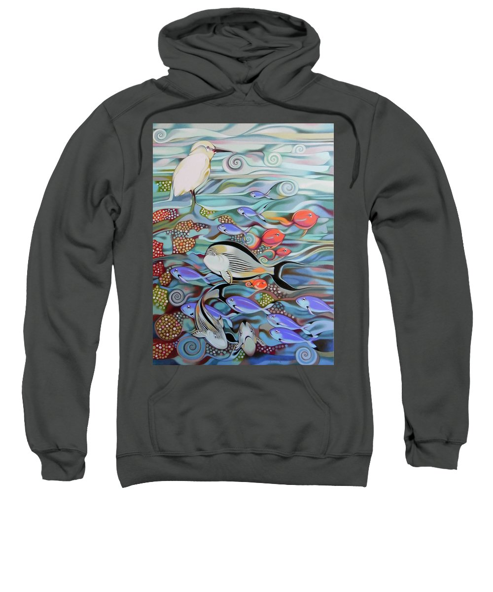 Fish Sweatshirt featuring the painting Memory Of The Coral Reef by Federico Cortese