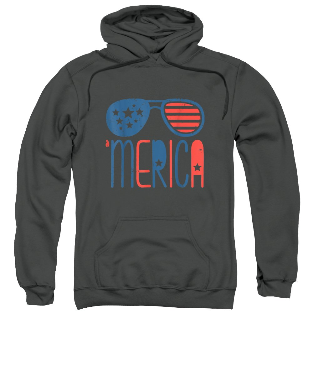girls' Novelty T-shirts Sweatshirt featuring the digital art Merica American Flag Aviators Toddler Tshirt 4th July White by Unique Tees