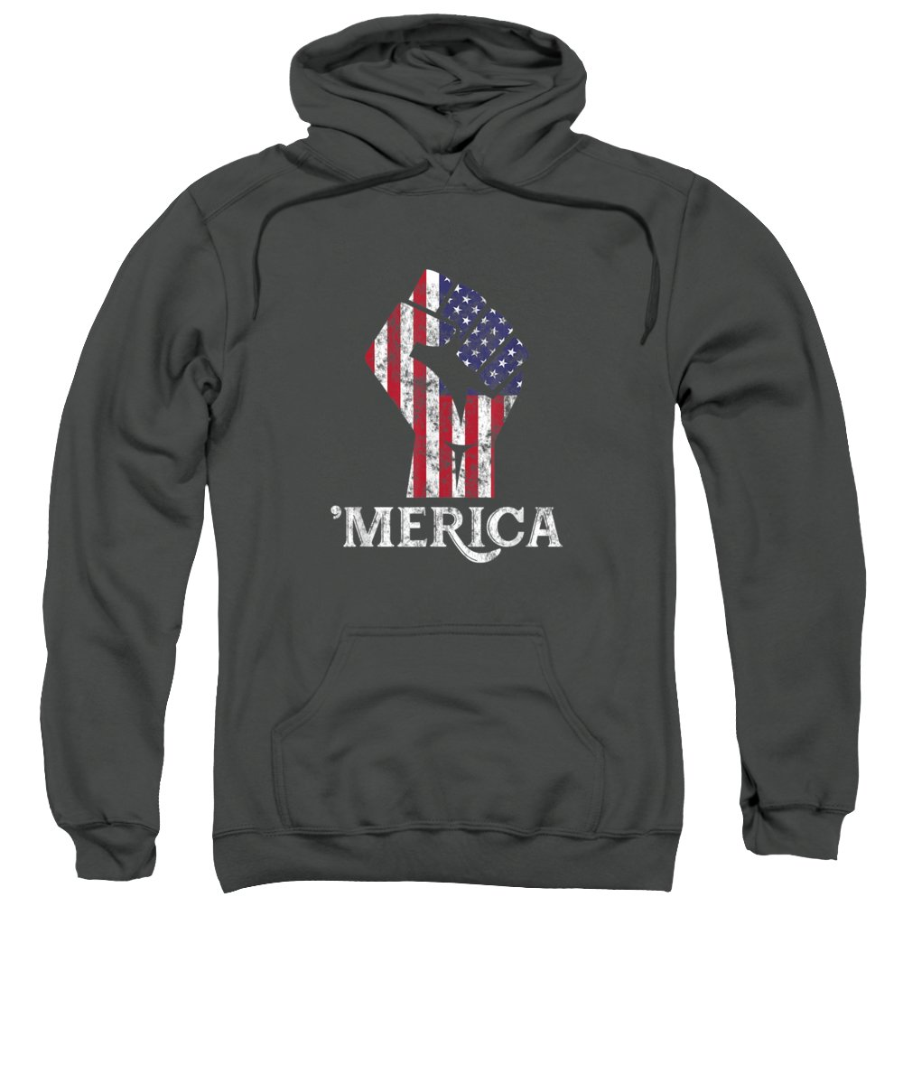 girls' Novelty T-shirts Sweatshirt featuring the digital art Merica American Flag Shirt- 4th July Independence Day Tshirt by Unique Tees