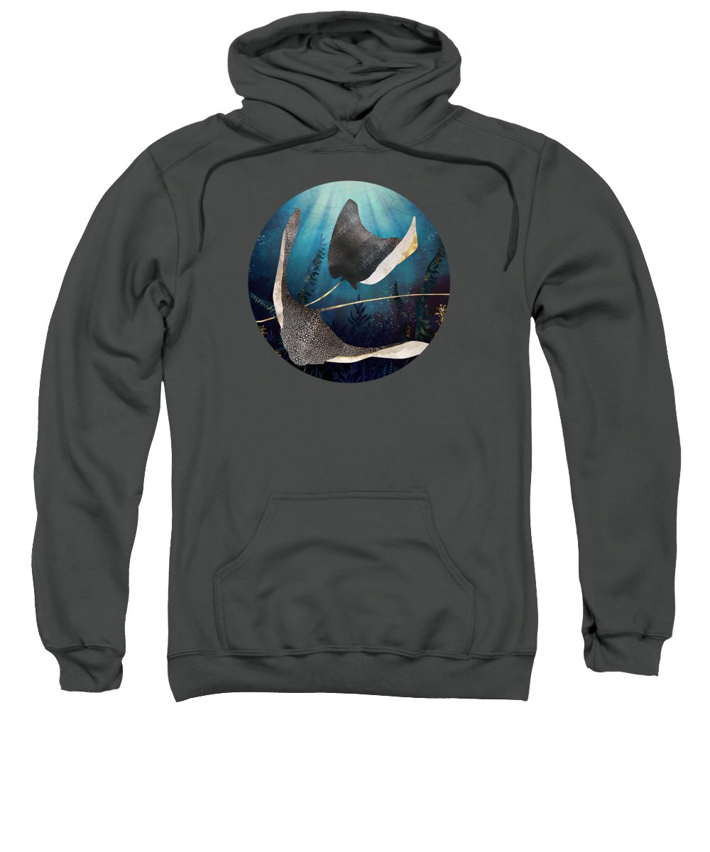 Stingray Sweatshirt featuring the digital art Metallic Stingray by Spacefrog Designs