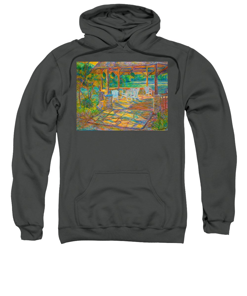 Lake Sweatshirt featuring the painting Mountain Lake Shadows by Kendall Kessler