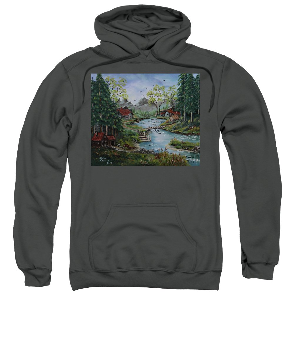 Cottage Life Sweatshirt featuring the painting Neighbours by Irene Clarke