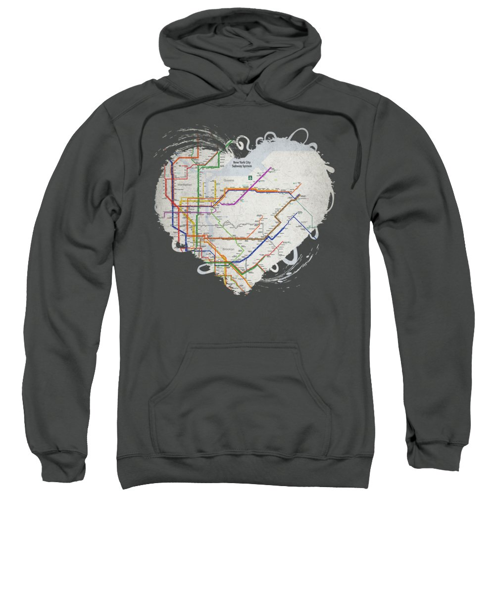 New York Sweatshirt featuring the painting New York City Subway Map by Christopher Arndt