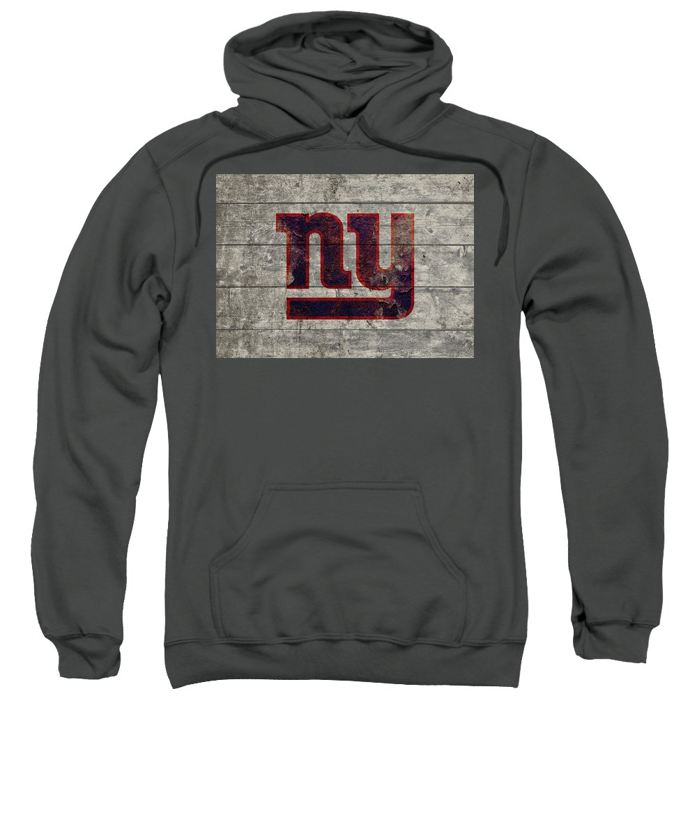 New York Giants Sweatshirt featuring the mixed media New York Giants Logo Vintage Barn Wood Paint by Design Turnpike