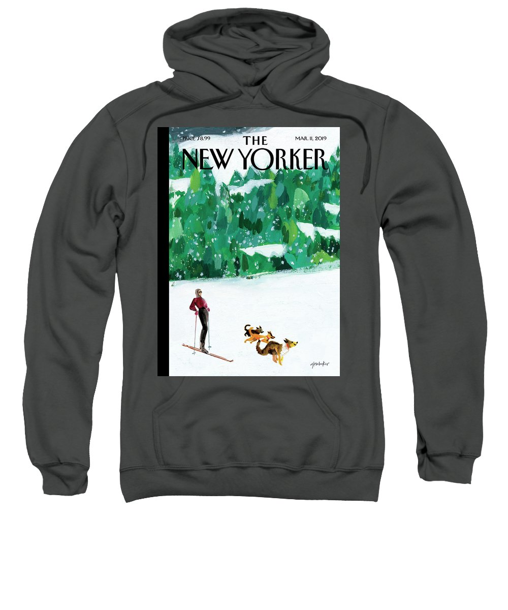 Skiing Sweatshirt featuring the painting Off The Path by Gayle Kabaker