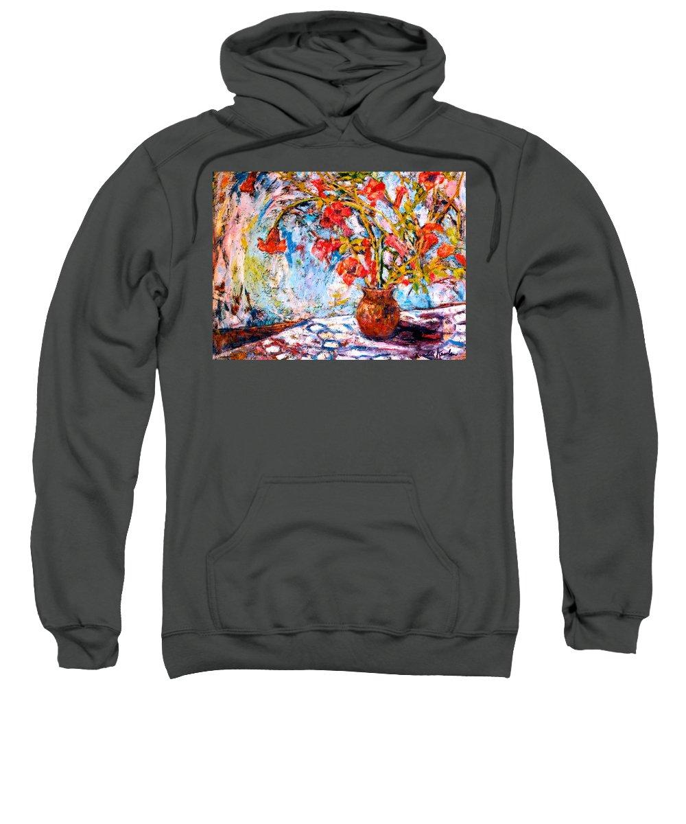 Trumpet Flowers Sweatshirt featuring the painting Orange Trumpet Flowers by Kendall Kessler