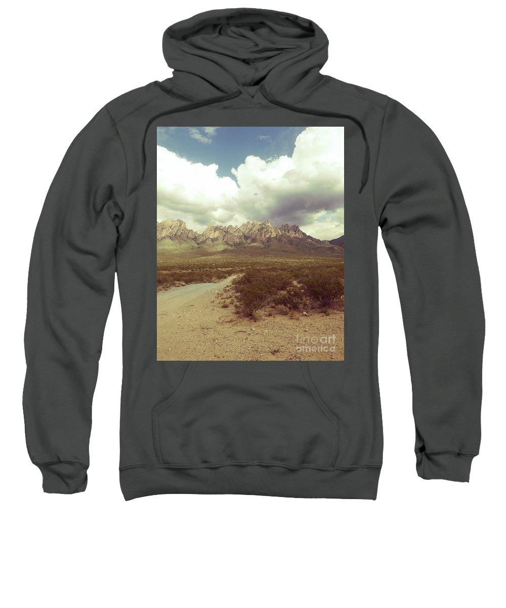 Organ Mountain National Wilderness Peaks Sweatshirt featuring the painting Organ Mountain Back Road by Jack Pumphrey