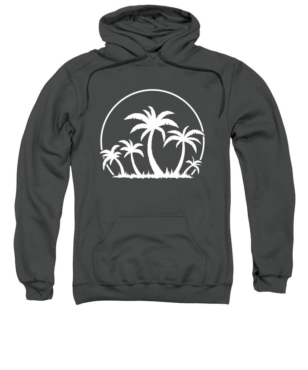 Beach Sweatshirt featuring the digital art Palm Trees And Sunset in White by John Schwegel