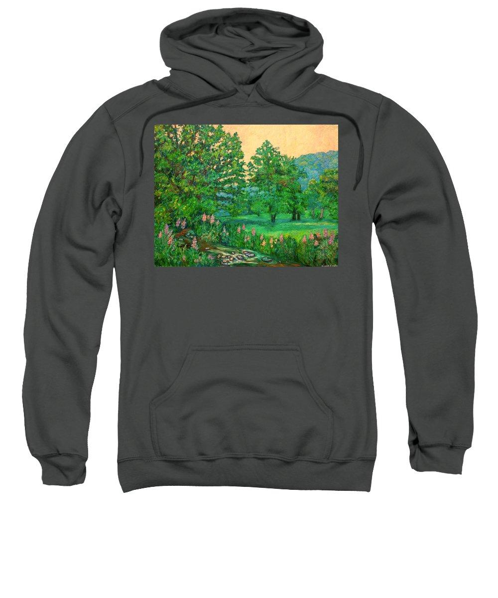 Landscape Sweatshirt featuring the painting Park Road in Radford by Kendall Kessler