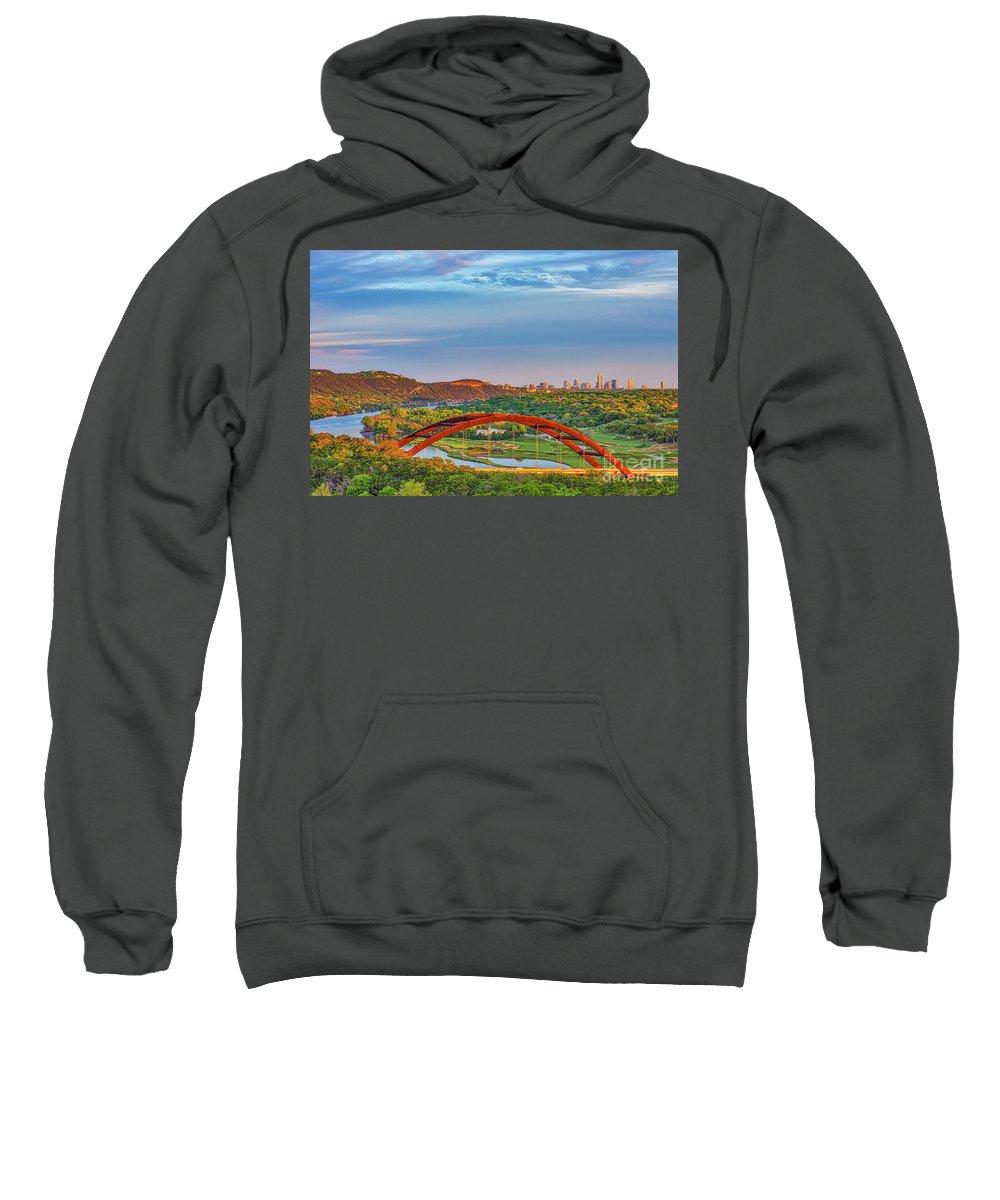 Austin Sweatshirt featuring the photograph Pennybacker Bridge by Tod and Cynthia Grubbs