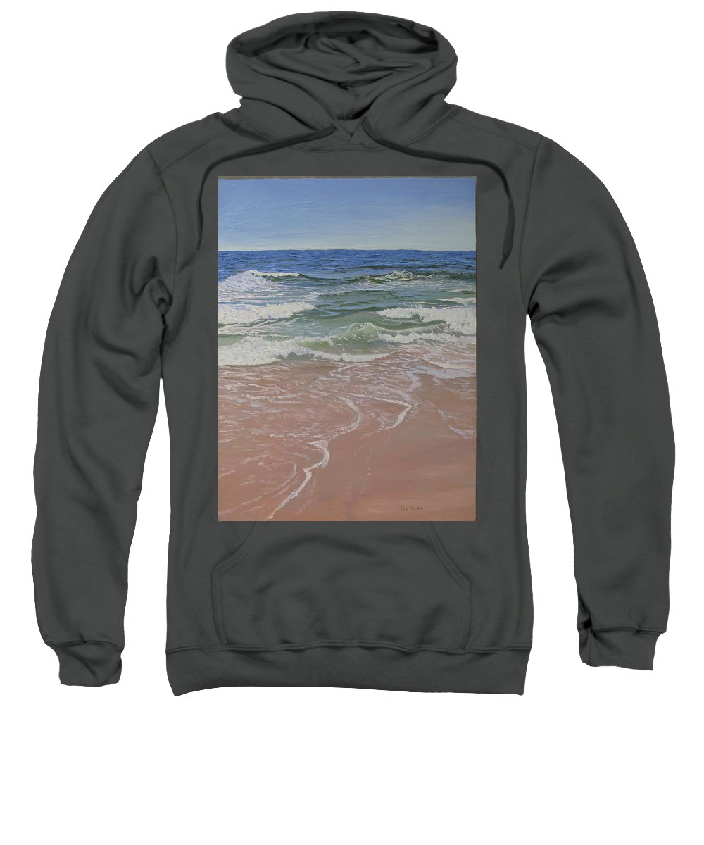 Seascape Sweatshirt featuring the painting Retreat and Return by Lea Novak