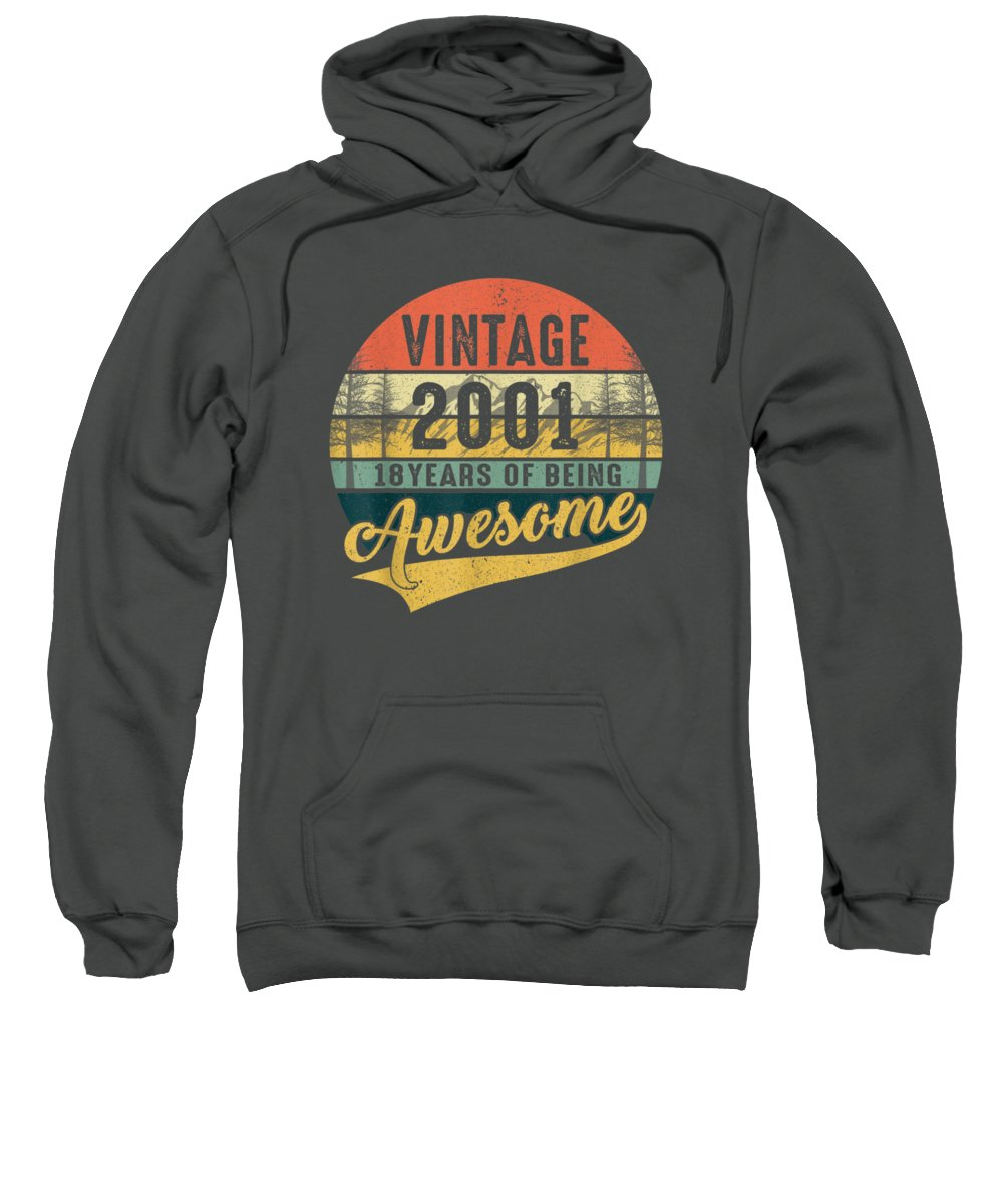 girls' Novelty Clothing Sweatshirt featuring the digital art Retro Vintage 2001 Tshirt 18th Birthday Gifts 18 Years Old by Unique Tees