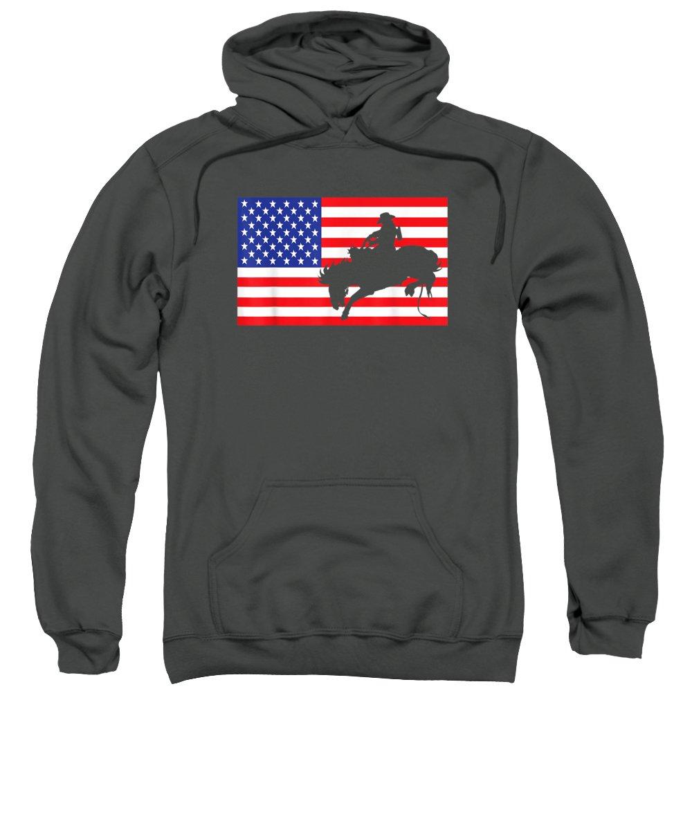 girls' Novelty T-shirts Sweatshirt featuring the digital art Rodeo Usa American Flag Bull Rider Cow Cowboys 4th Of July T-shirt by Do David