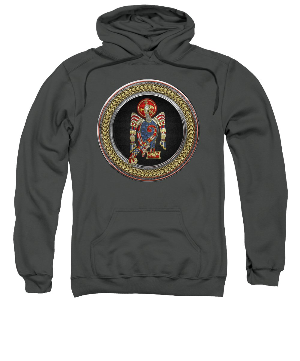 'celtic Treasures' Collection By Serge Averbukh Sweatshirt featuring the digital art Sacred Celtic Eagle Over Gold Silver And Black Medallion On Red Leather by Serge Averbukh
