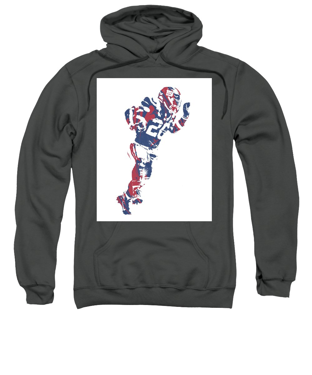 Saquon Barkley Sweatshirt featuring the mixed media Saquon Barkley New York Giants Pixel Art 10 by Joe Hamilton