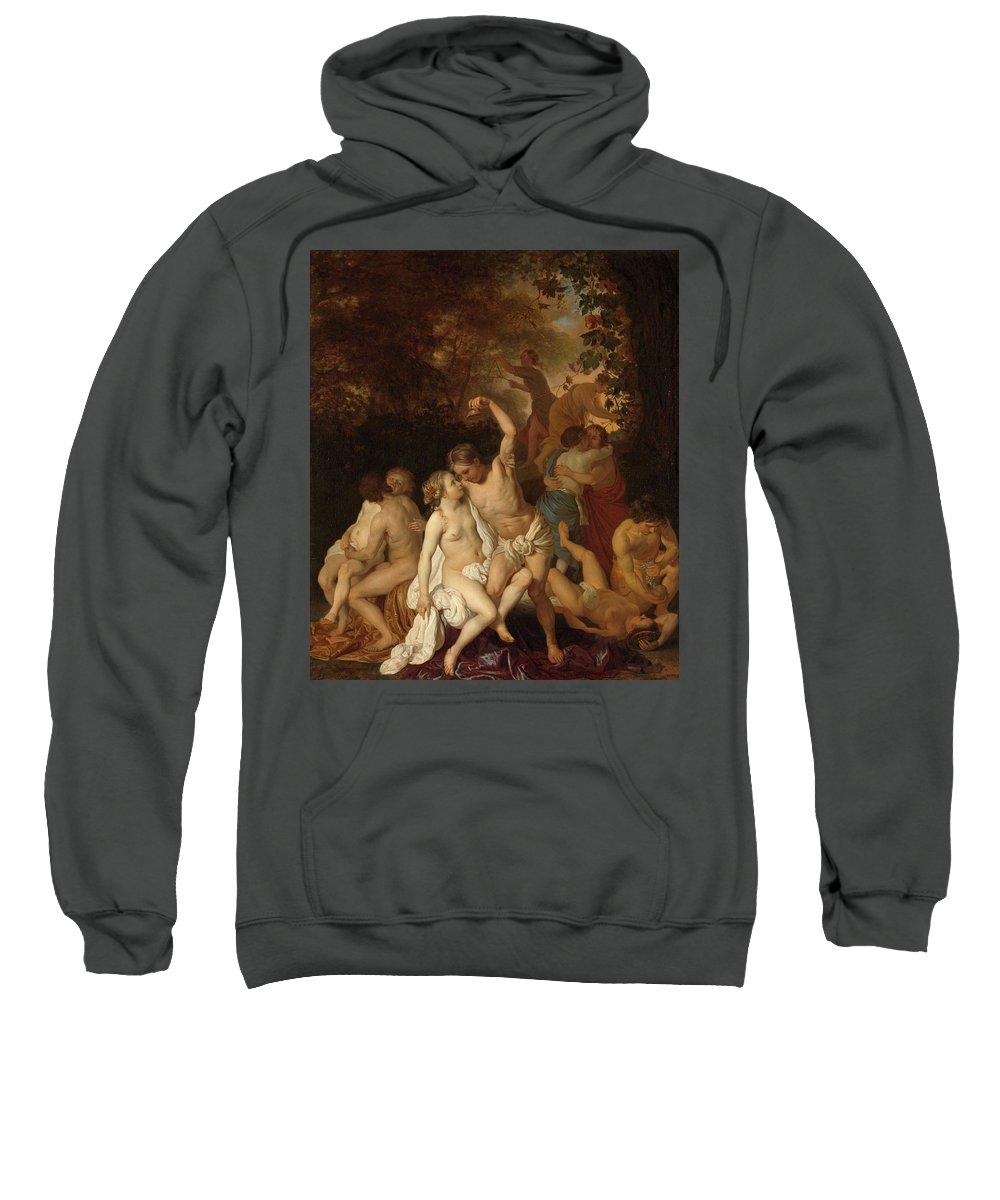 Jacob Van Loo Sweatshirt featuring the painting Scene With Bacchantes, 1653 by Jacob van Loo