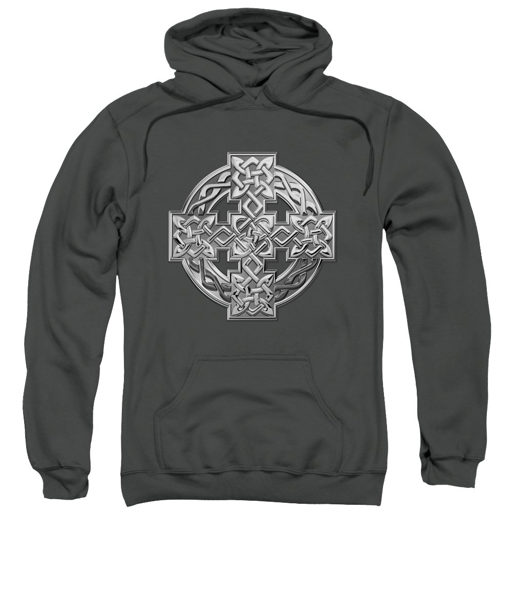 'celtic Treasures' Collection By Serge Averbukh Sweatshirt featuring the digital art Silver Celtic Knot Cross Over Red Leather by Serge Averbukh