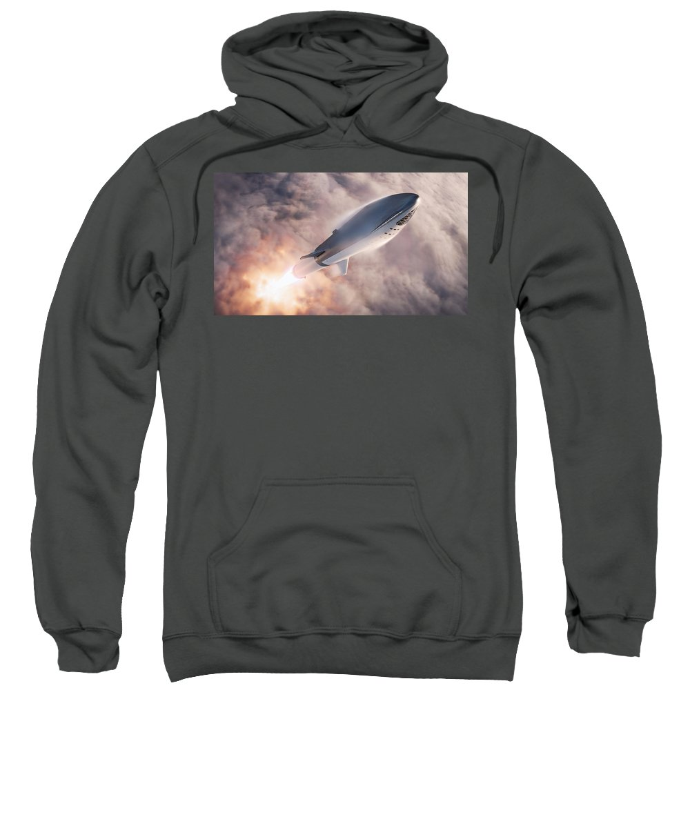 Dont Panic Sweatshirt featuring the digital art Spacex Bfr Epic Launch by Filip Hellman