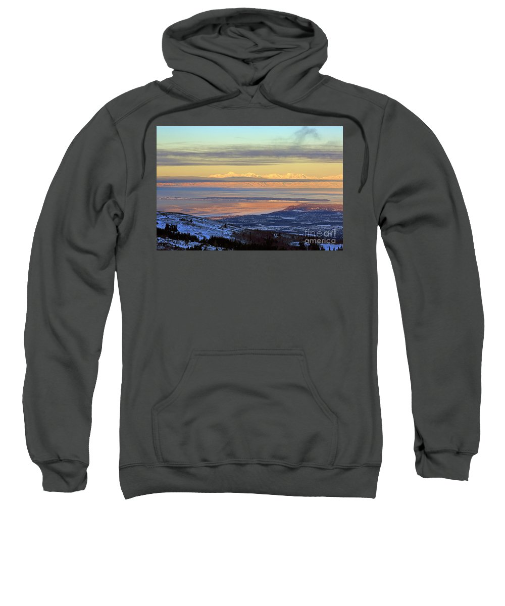 Cityscape Sweatshirt featuring the photograph Sunrise View Across Cook Inlet From Above Anchorage Alaska by Louise Heusinkveld