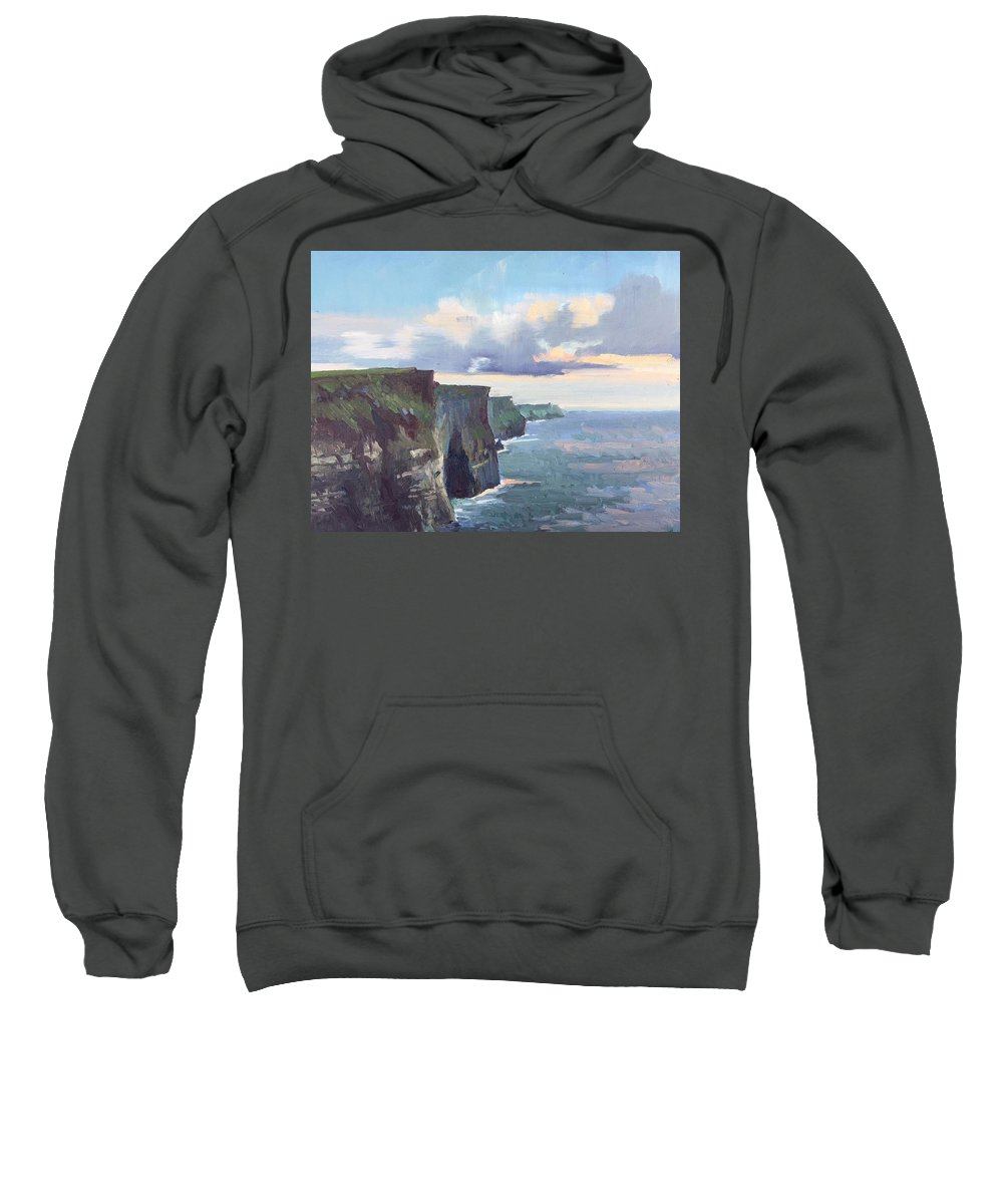 Cliffs Of Moher Sweatshirt featuring the painting The Cliffs by Dianne Panarelli Miller