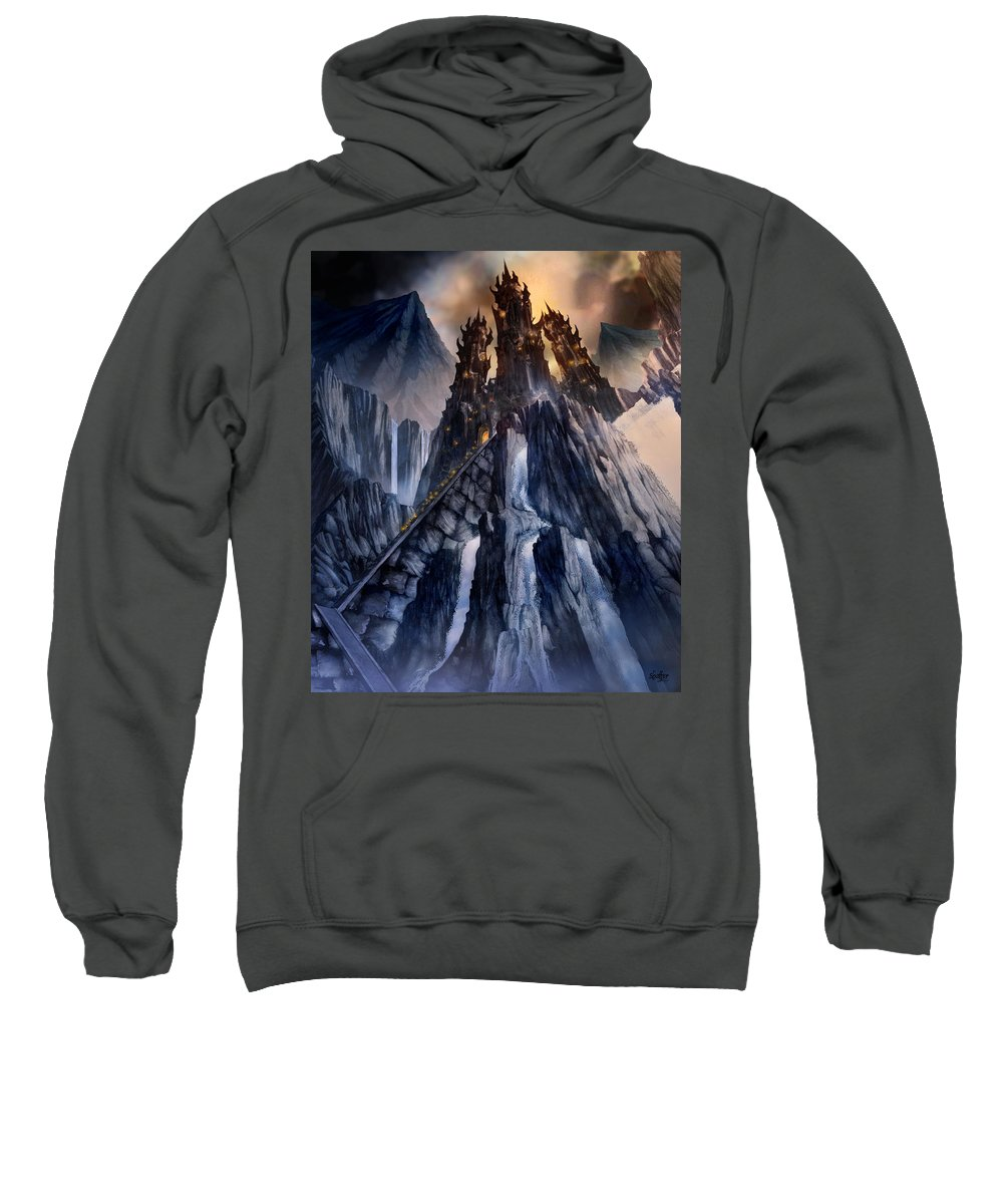 Architectural Sweatshirt featuring the mixed media The Dragon Gate by Curtiss Shaffer