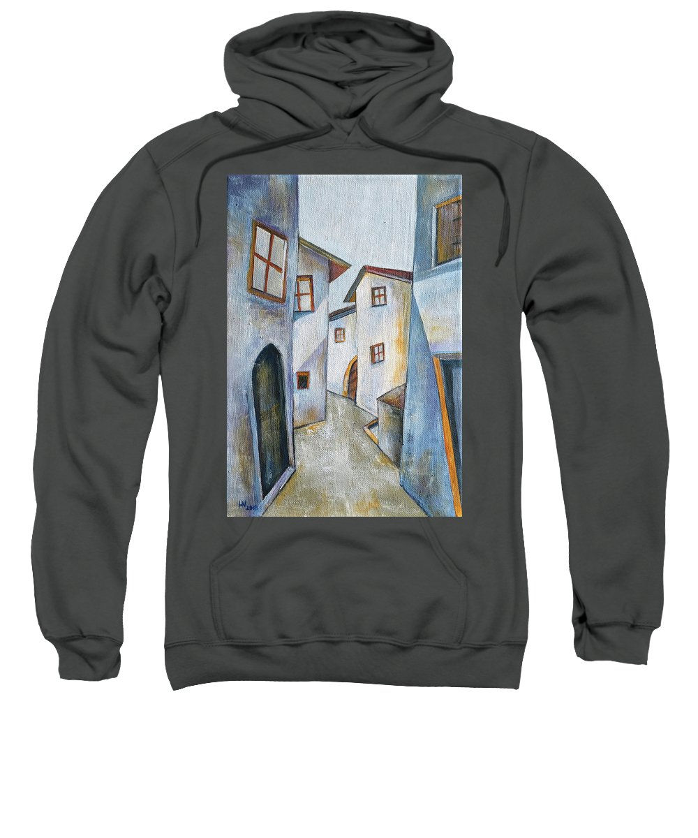 Acrylic On Canvas Sweatshirt featuring the painting The Old Town by Aniko Hencz