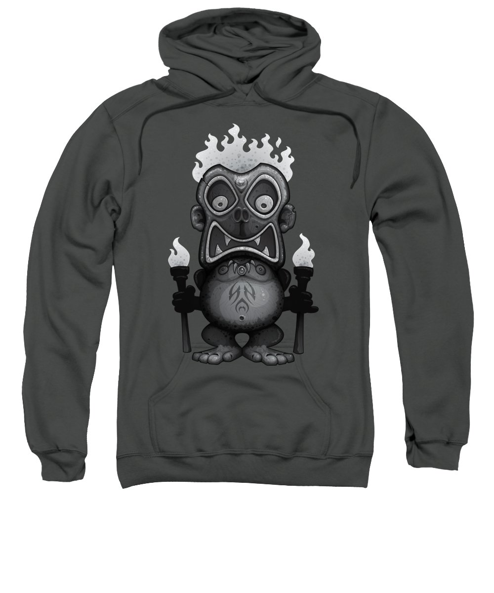 Tribal Sweatshirt featuring the digital art Tiki Munkee by John Schwegel
