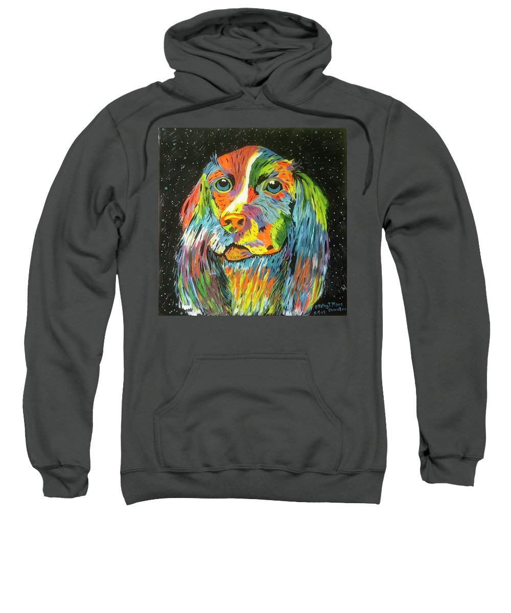 Vibrant Dog Sweatshirt featuring the painting Vibrant Dog by Kathy Marrs Chandler