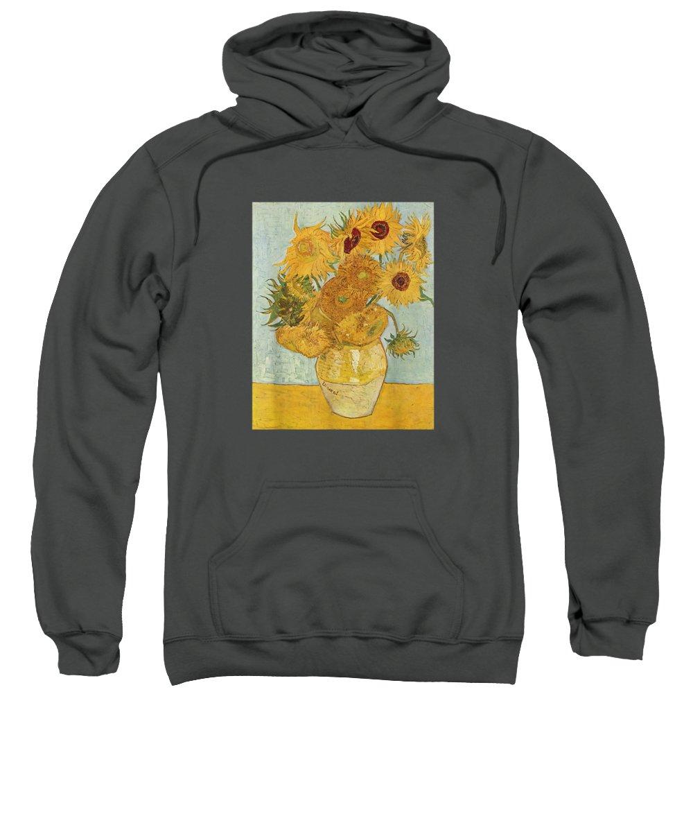 girls' Novelty T-shirts Sweatshirt featuring the digital art Vincent Van Gogh - Sunflowers - T Shirt Womens Mens Shirt by Do David