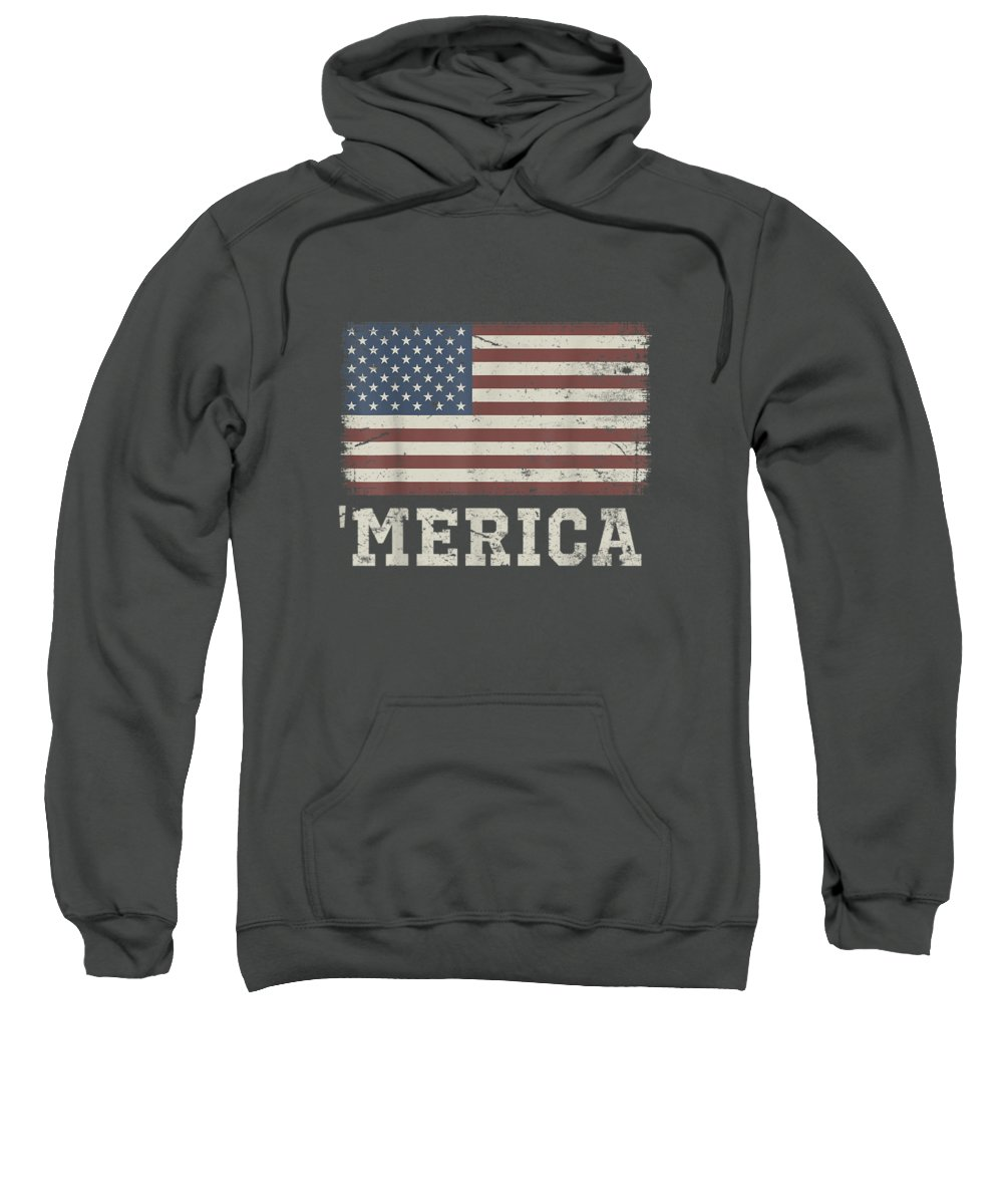 women's Shops Sweatshirt featuring the digital art Vintage Usa Flag 'merica T-shirt by Unique Tees