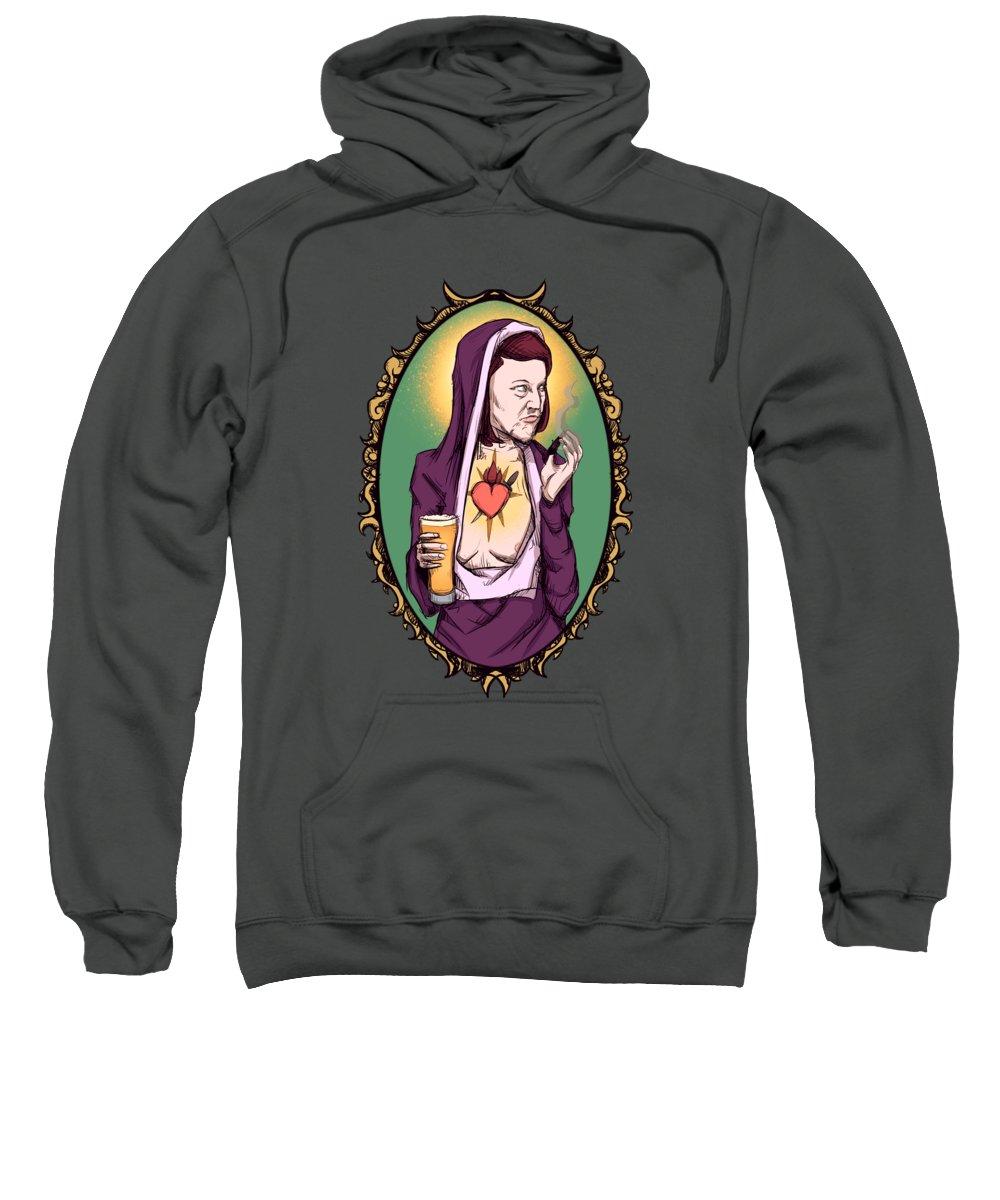 Meredith Sweatshirt featuring the drawing Virgin Meredith by Ludwig Van Bacon