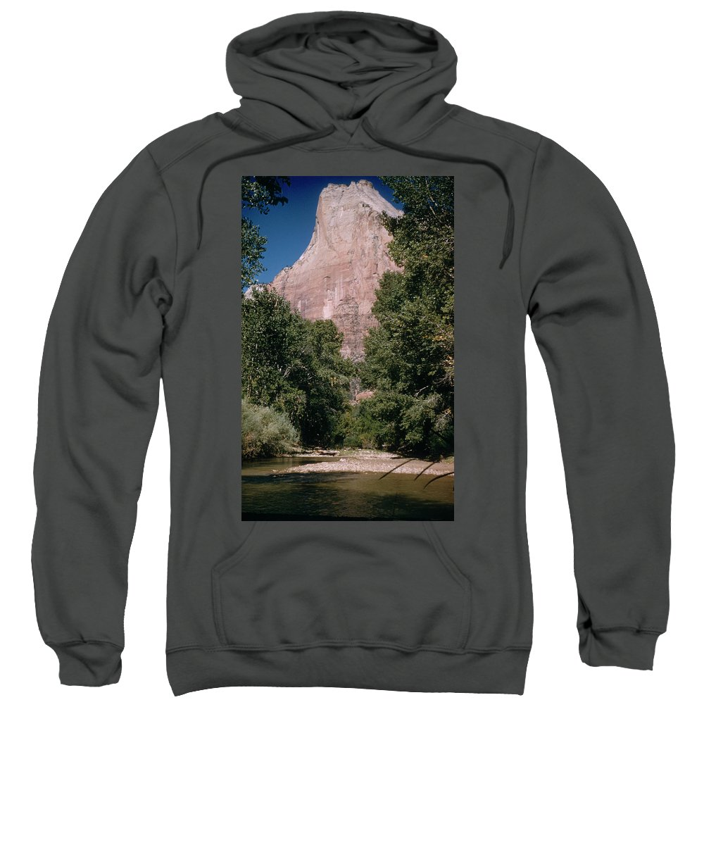 Mountains Sweatshirt featuring the photograph Virgin River And Cliff In Zion National Park, Utah - Utah300 00303 by Kevin Russell