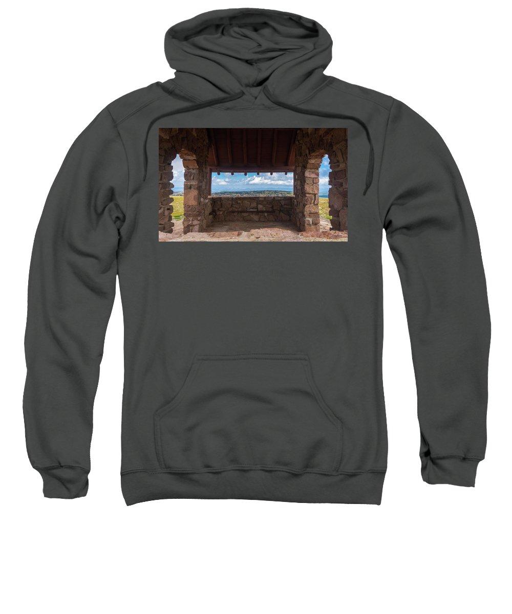Civilian Conservation Corps Sweatshirt featuring the photograph Window View - Ccc Lookout- Cedar Breaks - Utah by Debra Martz