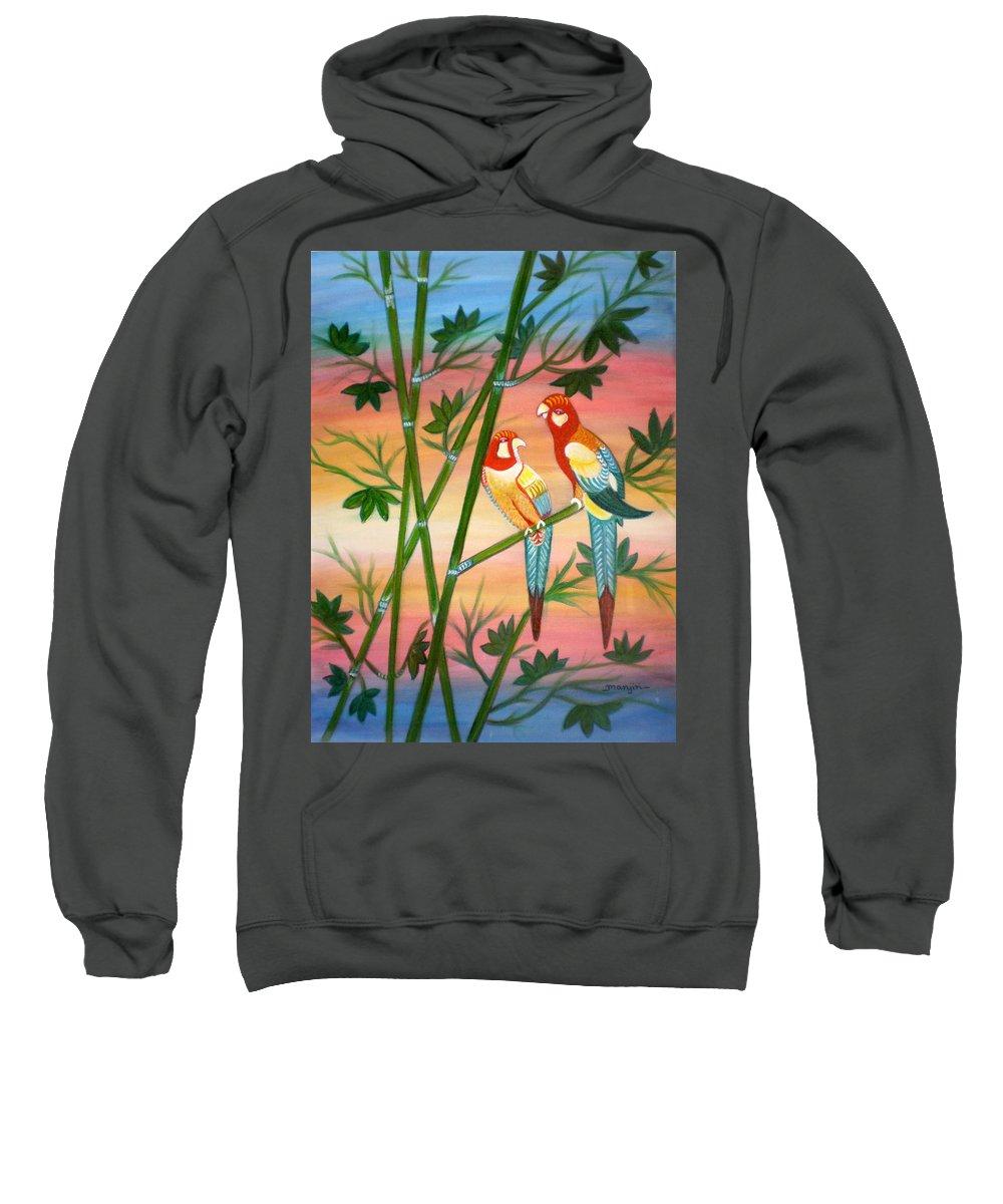 Acrylic Sweatshirt featuring the painting Birds in Paradise by Manjiri Kanvinde
