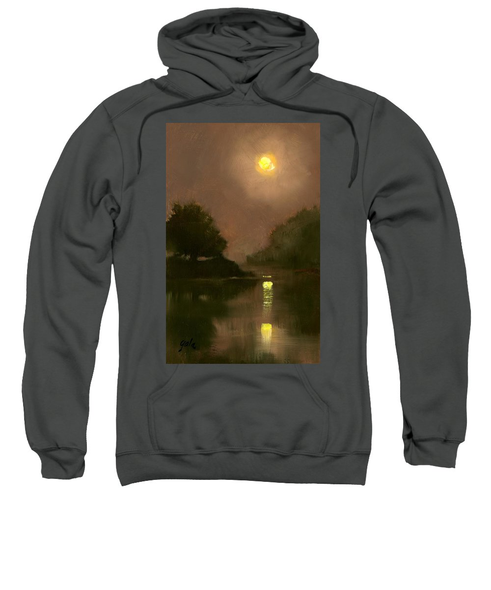 Miniatures Sweatshirt featuring the painting A Clear Evening by Jim Gola