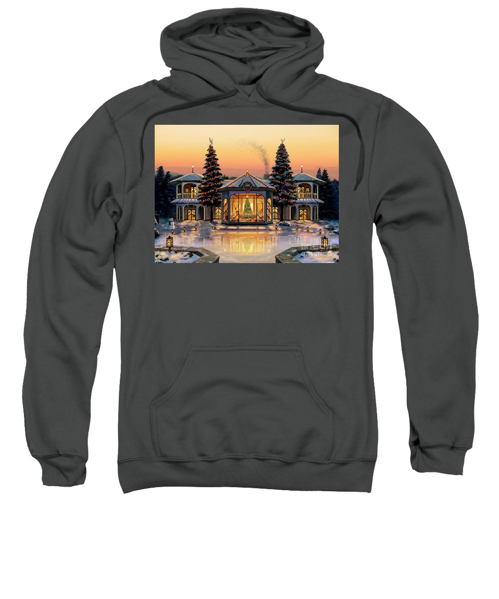 Christmas Sweatshirt featuring the painting A Warm Home For The Holidays by Stu Shepherd