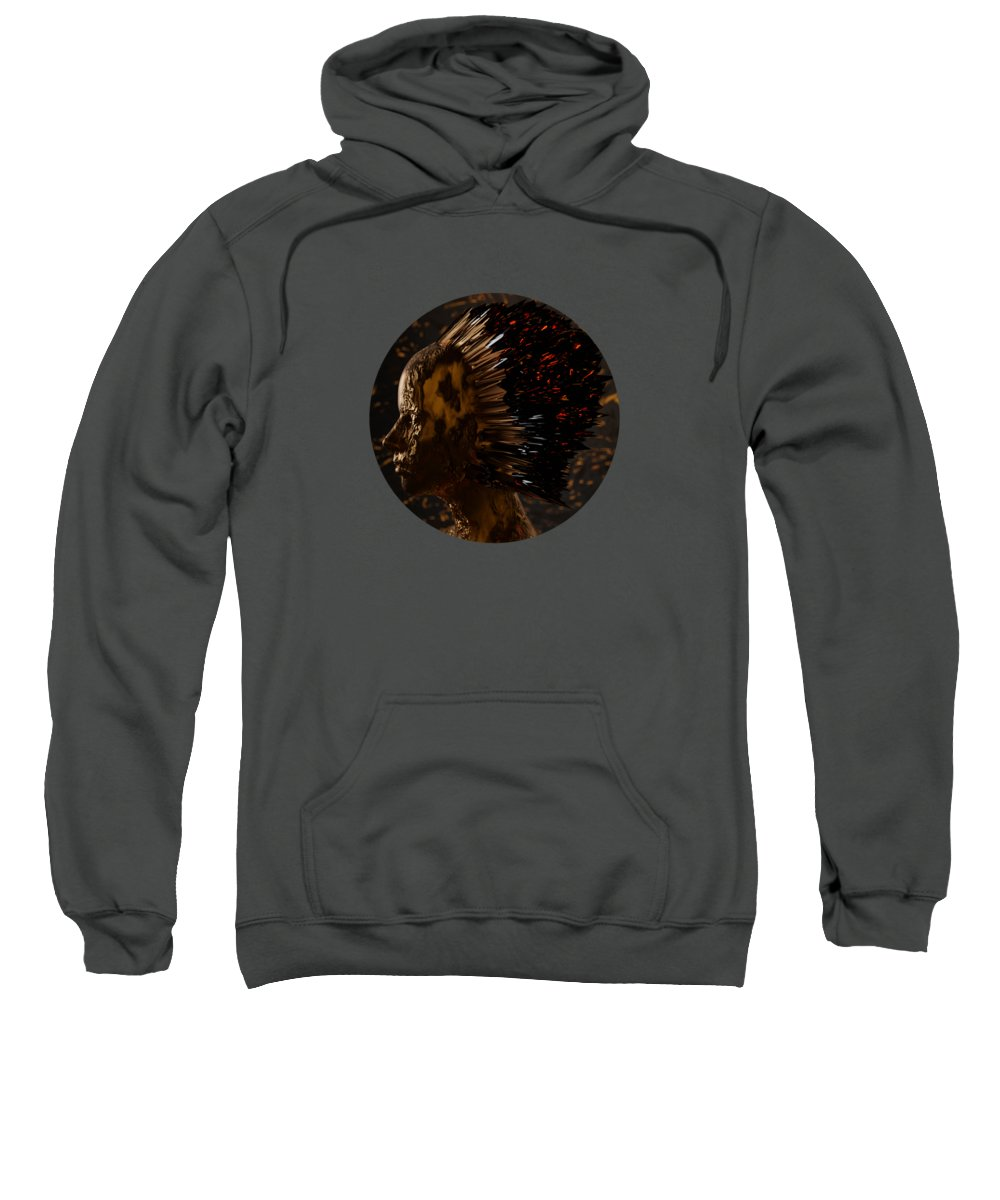 Portrait Sweatshirt featuring the digital art Abstract Portrait III by Spacefrog Designs