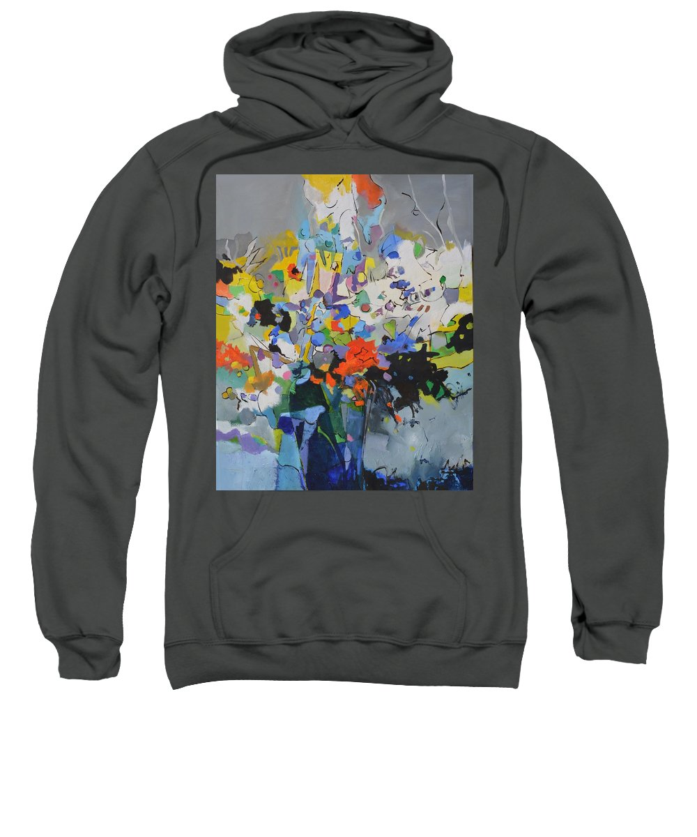 Flowers Sweatshirt featuring the painting Abstract still life 108022 by Pol Ledent