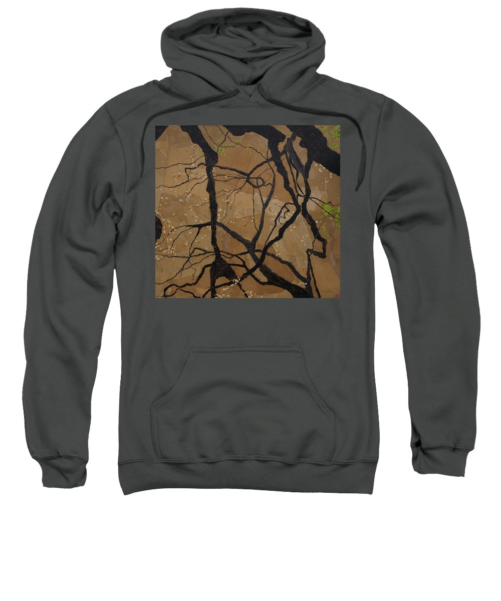 Abstract Tree Branches Sweatshirt featuring the painting Arboretum Dancers by Leah Tomaino