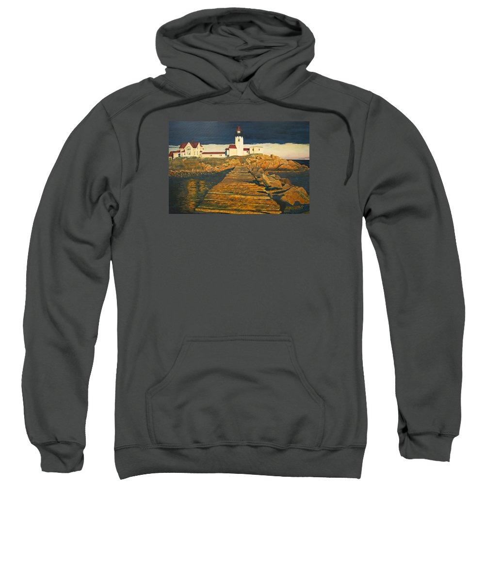 Fine Art Sweatshirt featuring the painting landscape art print oil painting Lighthouse by Diane Jorstad