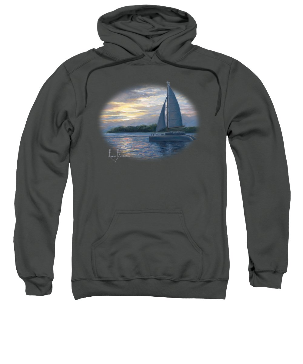 Sailboat Sweatshirt featuring the painting Sunset In Key West by Lucie Bilodeau