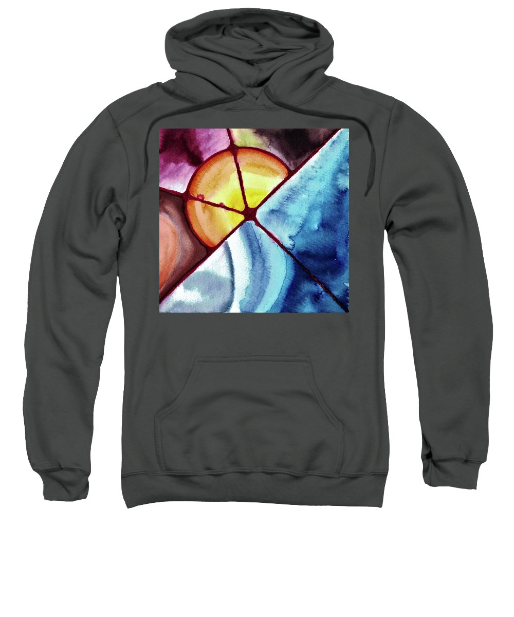 Abstract Sweatshirt featuring the painting Autum Rain by Della McGee