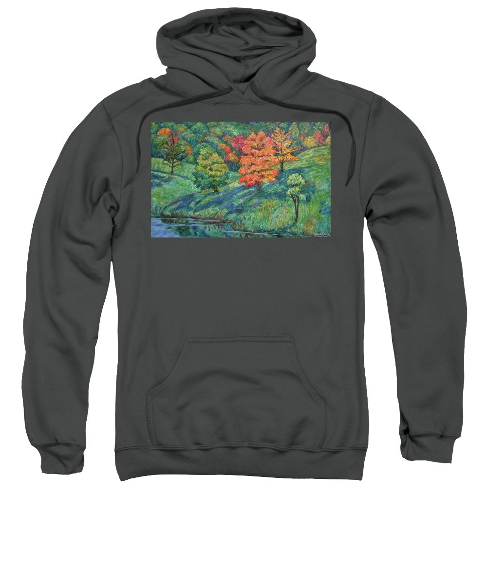 Landscape Sweatshirt featuring the painting Autumn Pond by Kendall Kessler