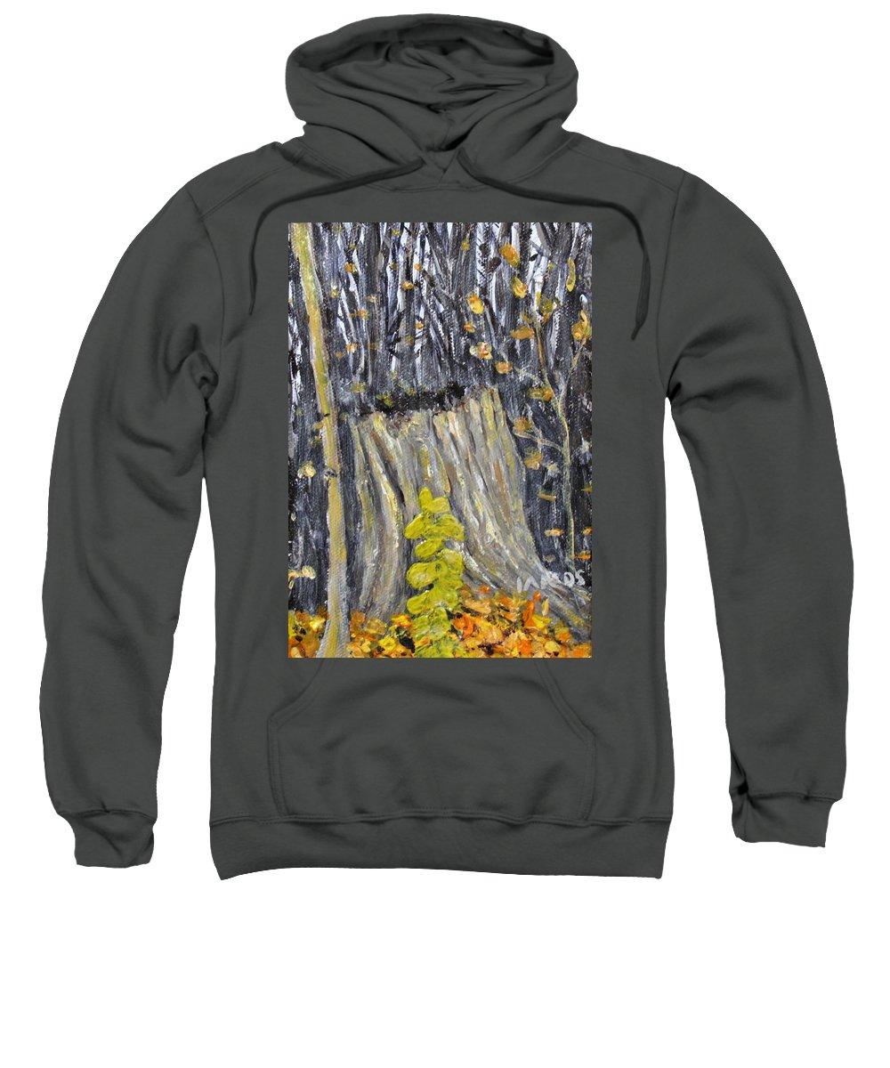 Stump Sweatshirt featuring the painting Autumn Stump by Ian MacDonald