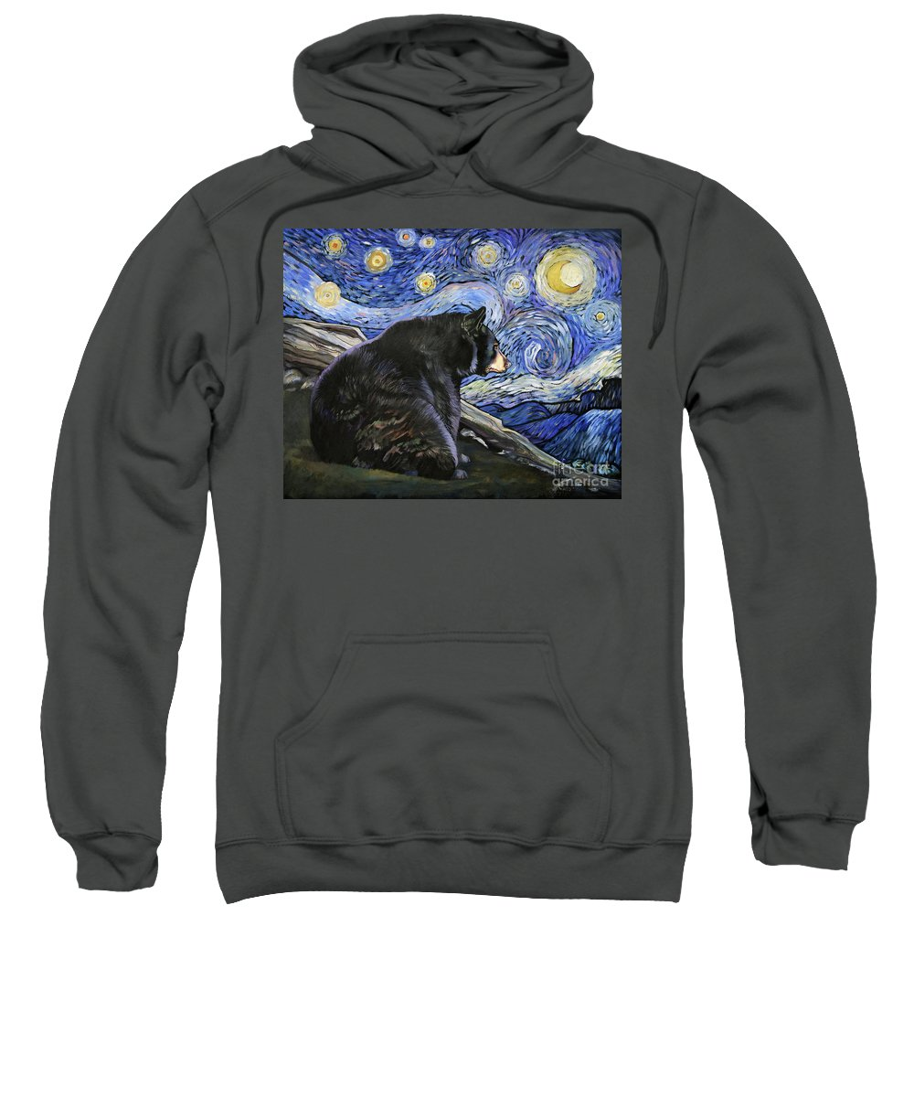 Whimsical Sweatshirt featuring the painting Beary Starry Nights by J W Baker