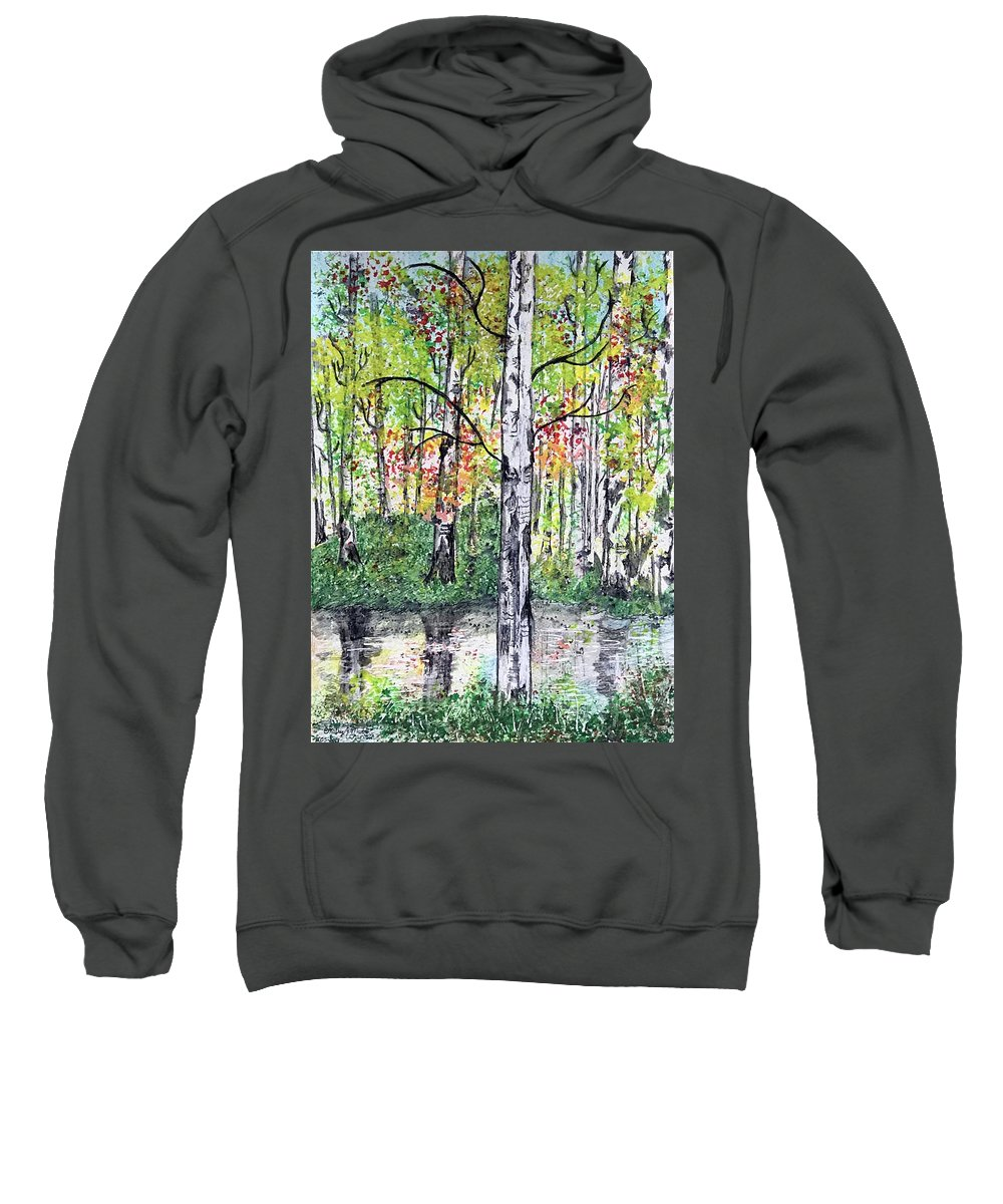 Birch Trees Sweatshirt featuring the painting Birch Trees in The Fall by Kathy Marrs Chandler