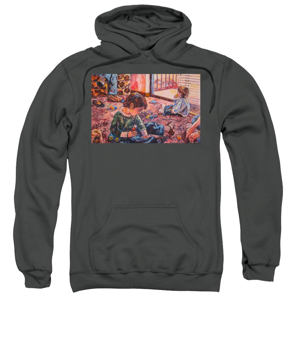 Figure Sweatshirt featuring the painting Birthday Party or a Childs View by Kendall Kessler