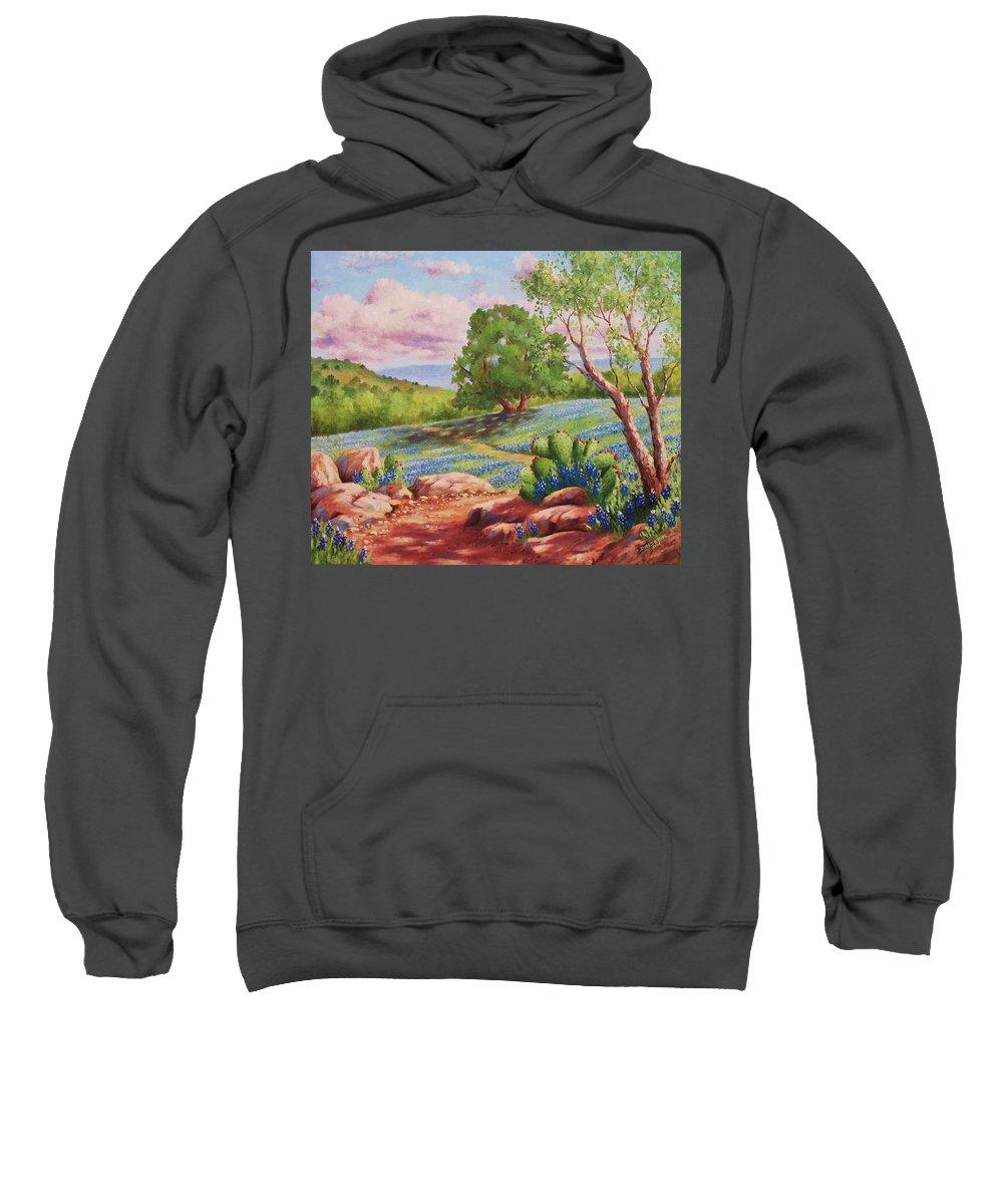 Bluebonnet Sweatshirt featuring the painting Bluebonnet Trail by David G Paul