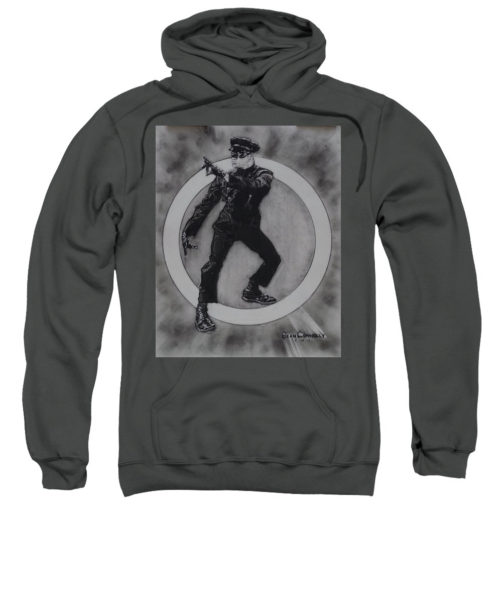 Charcoal Pencil Sweatshirt featuring the drawing Bruce Lee - Kato - 3 by Sean Connolly