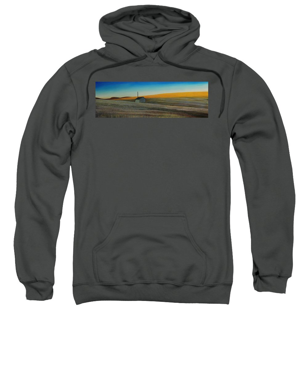 Wheat Sweatshirt featuring the painting Cold Field at Dusk by Leonard Heid